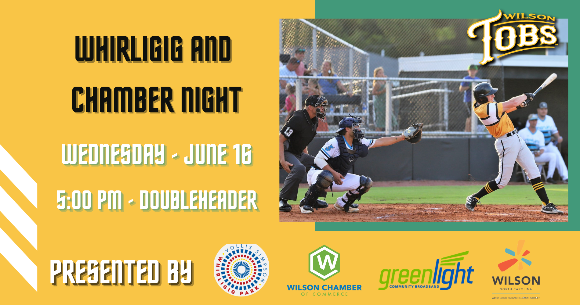 Tobs Play Two Today (Wednesday) on Wilson Chamber and Whirligig Night