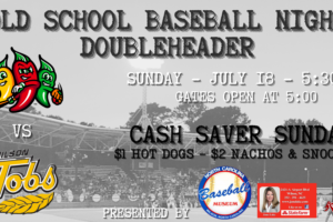 Tobs Play Two on Old School Baseball Night